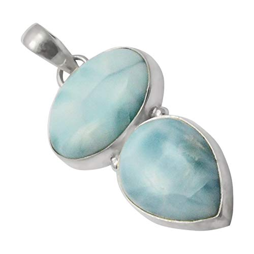 SilverPalace 925 Sterling Silver Handmade and Genuine Larimar Pendant for Womens and Girls