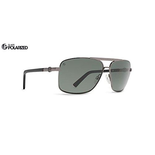 VonZipper Metal Stache Polarized Square Sunglasses,Charcoal & Gloss,One Size