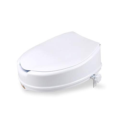 LXT PANDA Raised Toilet Seat with Lid, Portable Elevated Raised Toilet Seat Riser, 300 Pound Weight Capacity - Slip-Resistant for Handicap and Seniors. by LXT PANDA