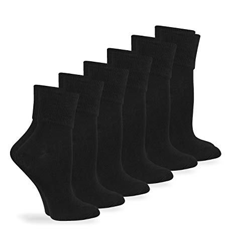 Jefferies Socks Womens Smooth Seamless Turn Cuff Socks 6 Pair Pack (Sock Size 9-11 - Shoe Size 6-9, Black) (Socks Cuff Women Turn)