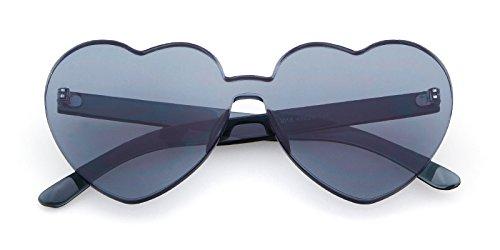 d9e97fb4af Heart Shape Rimless Sunglasses Transparent One Piece Colorful Sunglasses