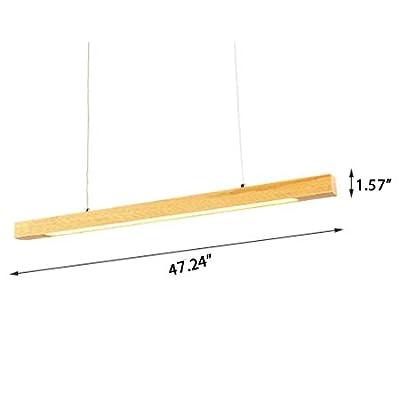 Wood Grain Led Slim Linear Suspension Light, JIANGXIN Thermal Dissipation Cord Adjustable 18W Led Chandelier for Office Study Room Kitchen Restaurant Island Lighting (3500-4000K Light)