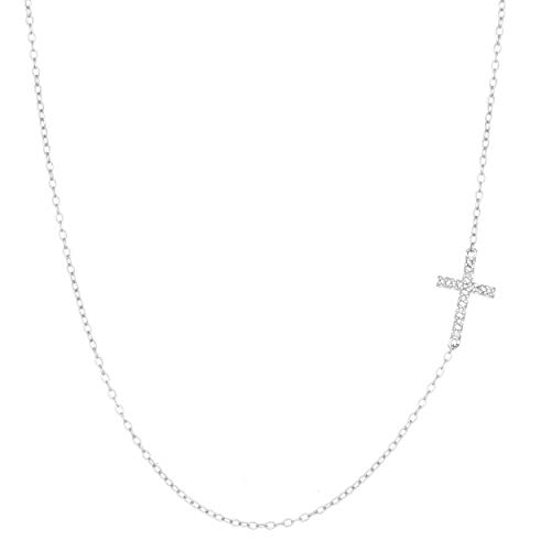 Lavari - .055 cttw Diamond Sterling Silver Sideways Cross Necklace Pendant on an 18