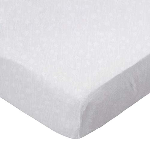 SheetWorld Fitted Portable / Mini Crib Sheet - White On White Floral Stems - Made In USA
