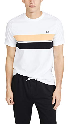(Fred Perry Men's Striped Chest Panel Tee, White,)