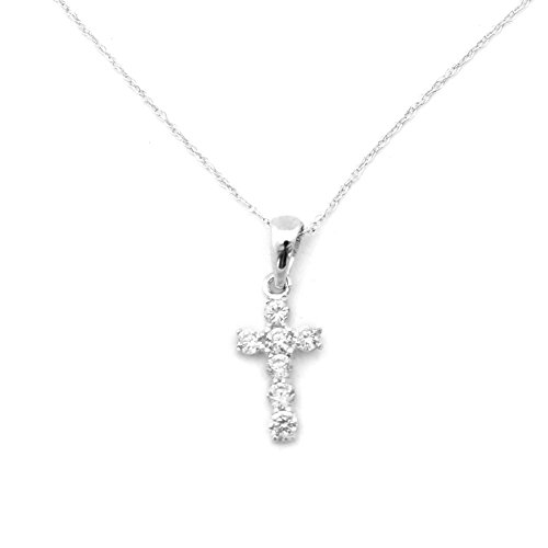 14k White Gold Small CZ Cubic Zirconia Cross Pendant Necklace - 15