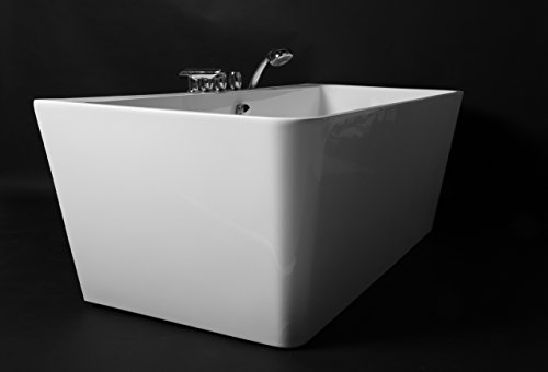 Kokss Iseo 67'' Modern Acrylic Bath Tub With Chrome Finish & Tub Filler Faucet, Freestanding, White, square, Rest, Bathe, Luxury spa hot tub, Seamless Bathroom Soaking, New 2016 Design Model by Kokss (Image #4)