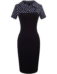 Womens Retro Chic Colorblock Lapel Career Tunic Dress B238