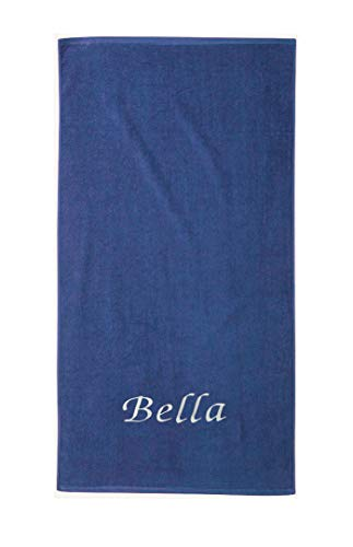 Liberty21 Beach & Pool Towel. Monogrammed Personalized Beach Towel. Custom Embroidered Towel. (Blue) (Beach Embroidered Towels)