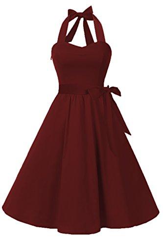 Topdress Women'sVintage Polka Audrey Dress 1950s Halter Retro Cocktail Dress Burgundy 2XL New