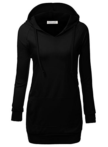 BAISHENGGT Women's Raglan Long Sleeve Tunic Sweatshirt Hoodie Large Black