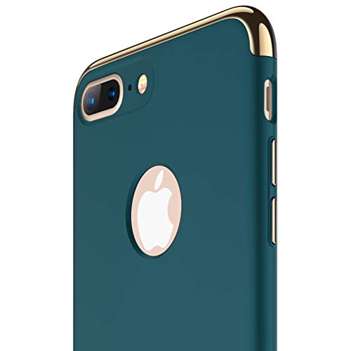 RANVOO iPhone 8 Plus Case, Slim Fit Thin Hard Stylish Cover 3 in 1 Detachable Case [Support Wireless Charging], Dark Green [Clip-ON Series] ()