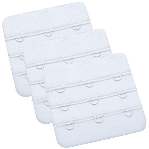 WingsLove Lady's Bra Extender Bra Band Breathing room 3pcs-Pack Multi-size(White, 3 Hook 3/4 Inch Spacing) (Womens Hook)