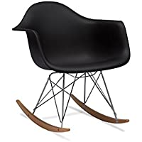 Baxton Studio Dario Plastic Mid-Century Modern Rocking Chair, Black