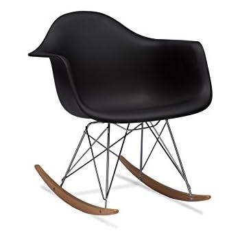Baxton Studio Dario Plastic Mid Century Modern Rocking Chair, Black
