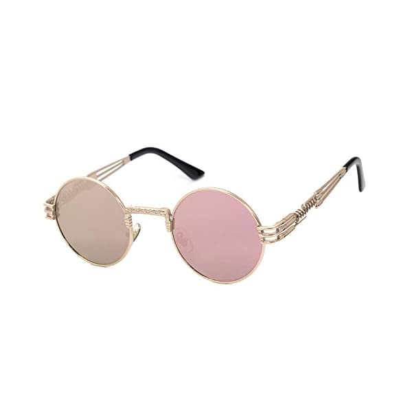 YANQIUYU Gothic John Lennon Metal Spring Frame Round Steampunk Sunglasses Retro Circle Shade Available 3