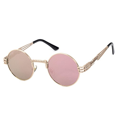 YANQIUYU Gothic John Lennon Metal Spring Frame Round Steampunk Sunglasses Retro Circle Shade Available
