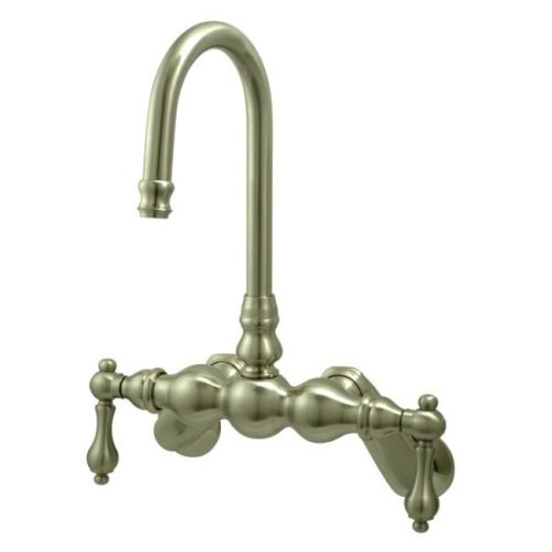 Design Leg Tub Filler - Kingston Brass CC81T8 Vintage Leg Tub Filler with Wall Angle Arm, Brushed Nickel