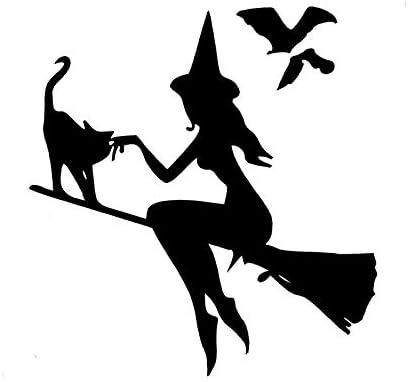 Personalized car stickers Witch broom bat cat car stickers vinyl decals 13.9CMX14.9CM csfssd Color : White