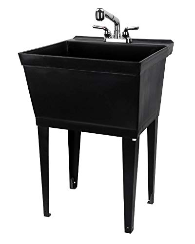 Black Utility Sink Laundry Tub With Pull Out Chrome Faucet, Sprayer Spout, Heavy Duty Slop Sinks For Washing Room, Basement, Garage or Shop, Large Free Standing Wash Station Tubs and Drainage (Black) (Sinks And Tubs)