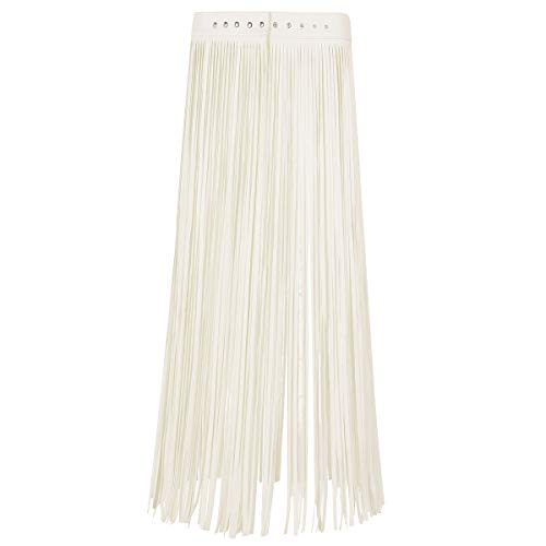 Alvivi Women's Adjustable Waistband Faux Leather Fringe Dress Belt Gypsy Style Tassel Skirt Beige Long Skirt Large