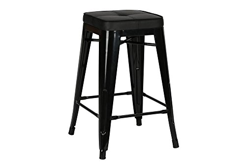 Novogratz Sedona Counter Stool with Metal Legs and Faux Leather Seat, Set of 2, Black