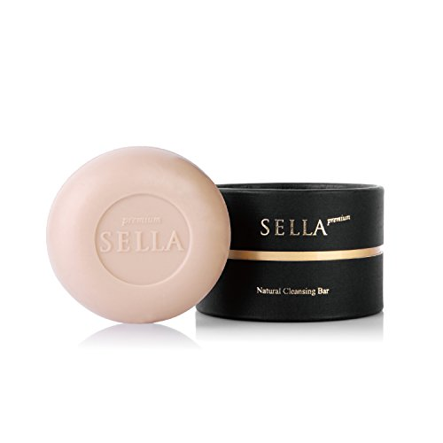 SELLA Premium Natural Cleansing Bar 3.5 oz. 100g - Facial Cleanser Organic Soap Made with Fresh Madagascar Soil, Magical Makeup Remover, Significant Skin Improvement Results
