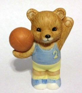 "Homco Bear Basketball 2 1/2"" Ceramic Figurine"