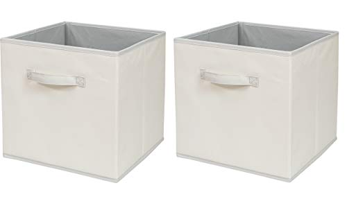 ITIDY Storage-Cube-Box, Foldable Storage Basket Bin Container Drawer Organizer, 2pk, Beige