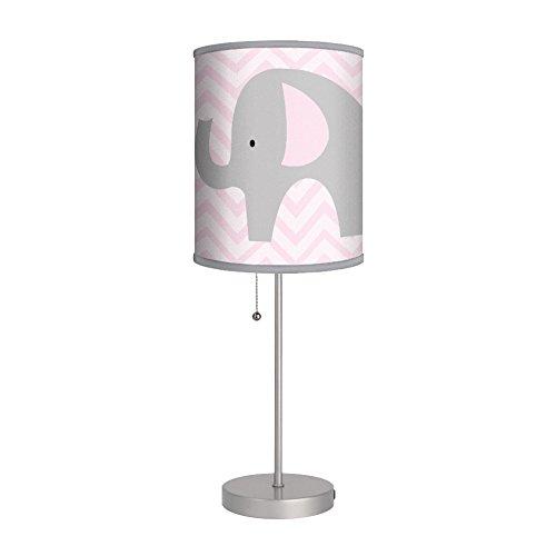 Elephant with Pink Chevron Stripes Nursery Lamp / Gray Trim by ABJ-Inc Designs