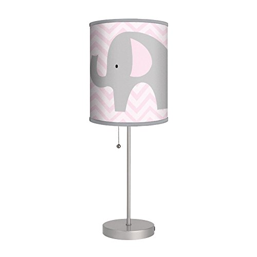 Elephant with Pink Chevron Stripes Nursery Lamp / Gray Trim