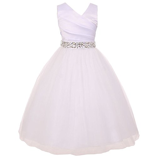 Big Girls Spinning Gathered Satin Bodice Illusion Skirt Rhinestones Sash Communion Bridesmaid White Dress White Sash - Size 14