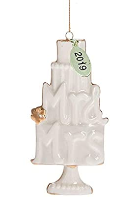 Twisted Anchor Our First Christmas Ornament 2019 Wedding Ornament with Mr and Mrs Wedding Cake, Ivory Bisque Ornament w/Gold Trim in Gift Box