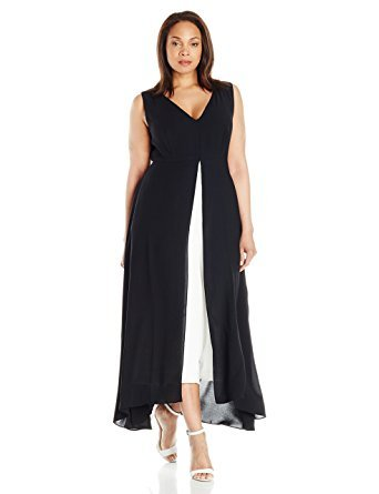 Colorblocked Maxi Dress (Adrianna Papell Women's Plus-Size Colorblocked Overlay Culotte Jumpsuit, Black/Ivory, 16W)
