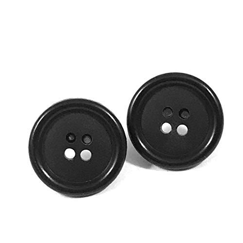Amazon Com Coraline 1 Inch Black Button Stainless Steel Stud Earrings Handmade