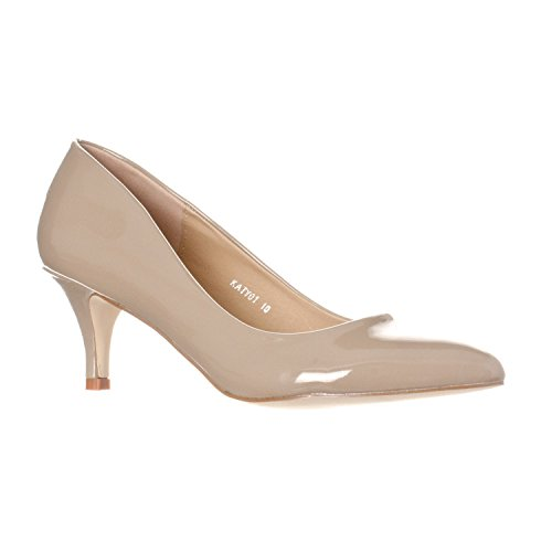 Image of Riverberry Women's Katy Pointed, Closed Toe Low, Kitten Heel Pumps, Khaki Patent, 8