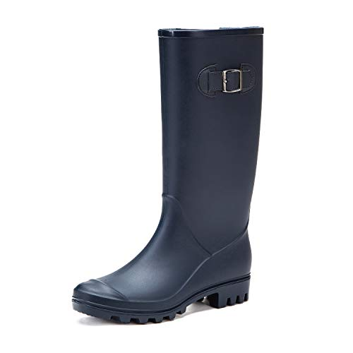 DKSUKO Rain Boots for Women Waterproof Elastic Wellington Boots (7 B (M) US, Blue with Elastic)