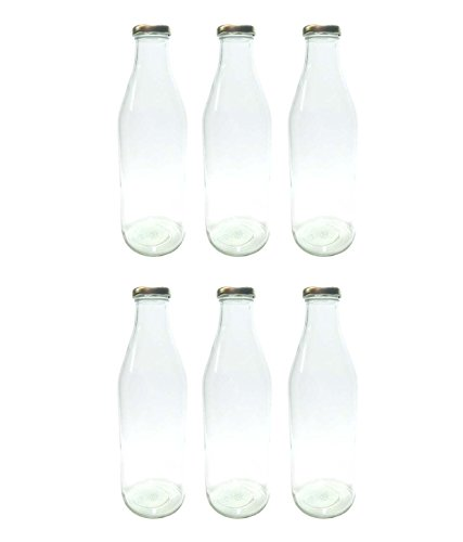 Favola Milk, Water And Juice Glass Bottle With Air Tight Cap - 1000 Ml (Set Of 6) - Transparent - Cfavcolbot082