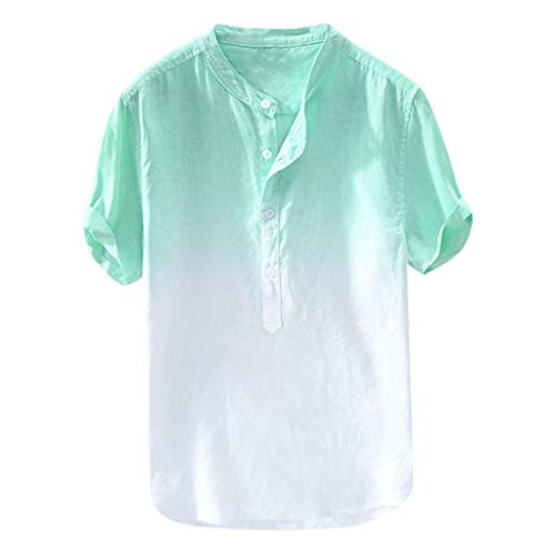 iTLOTL Summer Men's Cool and Thin Breathable Collar Hanging Dyed Gradient Cotton Shirt(XXX-Large,Green) from iTLOTL