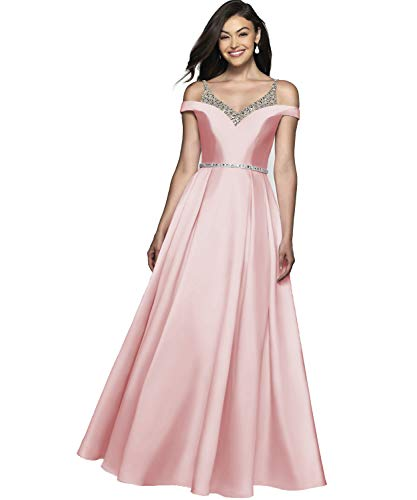 (YGSY Women's Cold Shoulder V Neck A-line Floor Length Pleated Evening Prom Dress Satin Ball Gown with Beaded Bodice Size 10 Blush Pink)