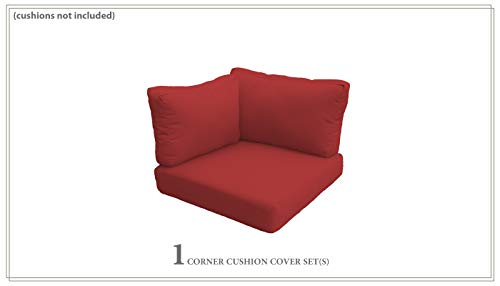 TK Classics Covers for Low-Back Corner Chair Cushions 6 inches Thick in Terracotta