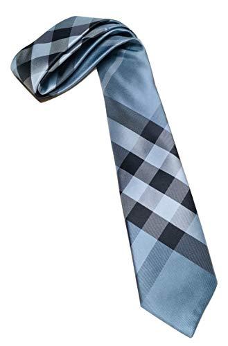 - New Authentic Burberry London Manston Navy Check Skinny Silk Tie