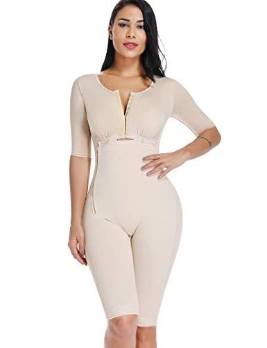 Women Shapewear Bodysuit Full Body Shaper with Sleeves 3 in 1 Post Surgery Firm Control Fajas Compression Garment Beige