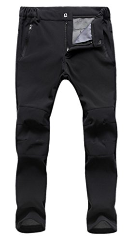 Geval Women's Windproof Softshell Fleece Ski Pants(Black,XS)