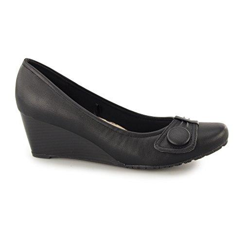 Wide Plus Wedge vonnie Heels Fit Black Black Comfort Ladies t4Axdwq