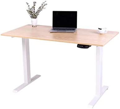 M MUNCASO Electric Standing Desk Height Adjustable Computer Desk Electric Sit Stand Desk Home Office Desks Dual German OKIN Motor Wood Color