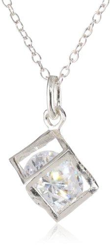 Sterling Silver Encased Floating Cubic Zirconia Pendant Necklace, (Sterling Silver Cubic Zirconia Floating)