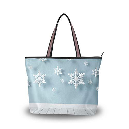 JSTEL Women Large Tote Top Handle Shoulder Bags White Snowflakes Patern Ladies Handbag