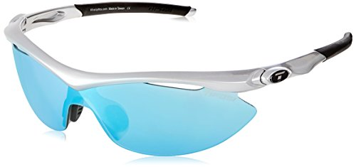 Optics Interchangeable - Tifosi Optics Slip Fototec Interchangeable Lens Sunglasses (Steel Frame - Clarion Blue/AC Red/Clear Lens)