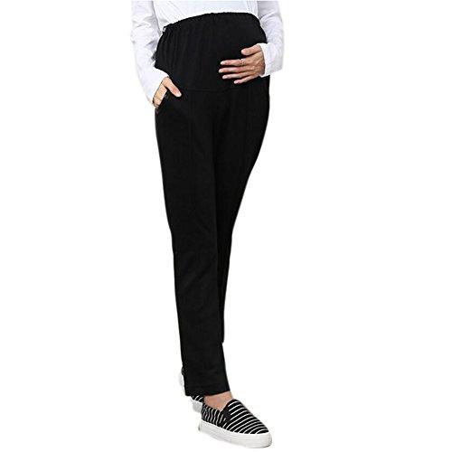 Highdas embarazadas vientre pantalones Mujeres Prop ajustables Pantalones de cintura alta de la maternidad largas Negro